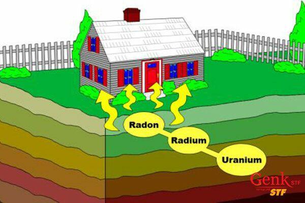 Radon phân hủy tạo thành những phần tử đi vào phổi, gây tổn thương phóng xạ.