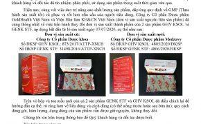"""Thông báo: """"Về việc thay đổi đơn vị sản xuất thành phẩm sản phẩm GHV KSOL và GENK STF"""""""